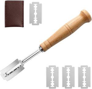 Bäckermesser, Baguettemesser mit Brot Bäcker Cutter Edelstahl Küchen Brotmesser Werkzeug mit 5pcs Klingen, Ritzmesser zum Einschneiden von Baguette, Brot oder Brötch