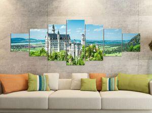 Leinwandbilder 7 Tlg 280x100cm   Neuschwanstein Schloss Ritterburg   Leinwand Bild Teile teilig Kunstdruck Druck Vlies Wandbild mehrteilig 9YB1194, Leinwandbild 7 Tlg:ca. 280cmx100cm