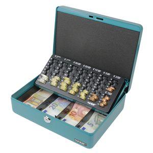 HMF 10015-24, Geldkassette Euro-Münzzählbrett, Geldzählkassette, 30 x 24 x 9 cm, Petrol