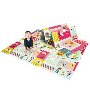 GOPLUS Baby Spielmatte doppelseitig, Krabbelnmatte faltbar, wasserabweisende und rutschfeste Spielmatte, aus ungiftig XPE, Babymatte für Innen- oder Au?enbereich, Farbwahl, 200 x 180 x 1,4cm (Rosa)