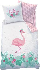 Wende Bettwäsche mit Flamingo 135 x 200 + 80 x 80 cm