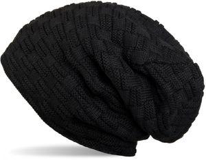 styleBREAKER warme Feinstrick Beanie Mütze mit Flecht Muster und sehr weichem Fleece Innenfutter, Unisex 04024058, Farbe:Schwarz