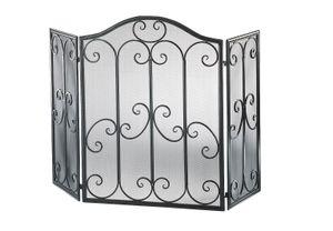 Kaminschutzgitter mit Ornamenten aus Metall, gebürstet, Farbe schwarz/silber