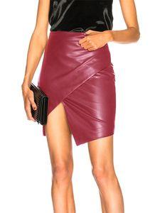 Damen geteilte Tasche Hüfte elastische Taille Rock Lederrock,Farbe: Rotwein,Größe:M