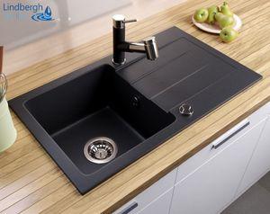 """LINDBERGH® Granitspüle Schwarz """"MEG11"""" inkl. Siphon Küchenspüle Einbauspüle Küche Spüle"""