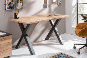 Industrial Schreibtisch MONTREAL 140cm Asteiche mit schwarzem X-Gestell Arbeitstisch Tisch