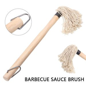Holz Griff Grill Mopp Baumwolle Faser Kopf Lange Gericht Mopp Für Braten Grillen BBQ Sauce Marinade Pinsel