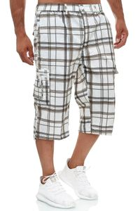 Herren Bermuda Cargo Shorts 3/4 Karo Hose Kariert Kurz Regular Fit Capri, Farben:Braun, Größe Shorts:M
