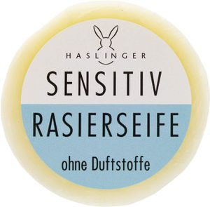 Haslinger Sensitiv Rasierseife für sensible Haut ohne Duftstoffe beruhigend milde Pflanzenöle 60 g