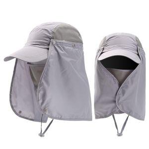 Sonnenhut Herren Damen UV Schutz Hüte Abnehmbarer Cap Outdoor Visoren Sonnenschutz Hut Outdoor-Anglerhut Wasserdicht,Grau