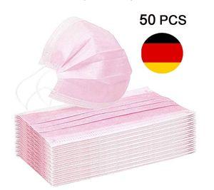 Ciskotu 50 Stück Pink Disposable Shield Einweg-Atemschutzbakterienschutz Mundschutz Gesichtsschutz Rosa 50 Stück
