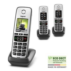Gigaset FAMILY Universal-Mobilteile - 3 schnurlose Telefone zur Anbindung an alle gängigen Router, großes Farbdisplay - anthrazit-grau
