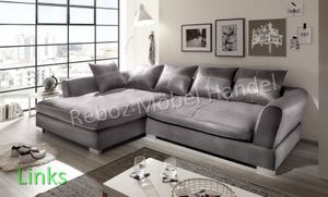 Big Sofa Kunstleder Leder Ecksofa Grau LINKS Bigsofa verschiedene Farben