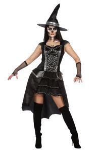 Wilbers & Wilbers Hexenkostüm Hexe Hexen Kostüm Halloween Witch Zauberin Vampir Gothic Hexenkleid Schwarz/Grau L