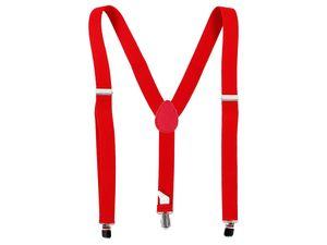 Hosenträger bunt mit 3-Clips Y-Form Karneval Fasching, Variante wählen:rot