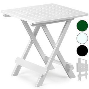 Klapptisch Beistelltisch Klappbar 50x45x43 cm Balkontisch Campingtisch Gartentisch Kunststoff, Farbe:weiß