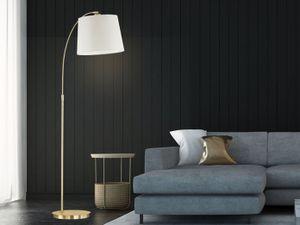 Designklassiker LED Bogenlampe Messing & Stoff Beige Esstisch Stehlampen gebogen