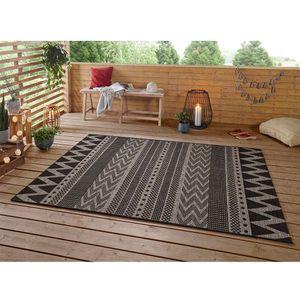 Design In- und Outdoor Teppich Sidon Beige Anthrazit, Größe:70x200 cm