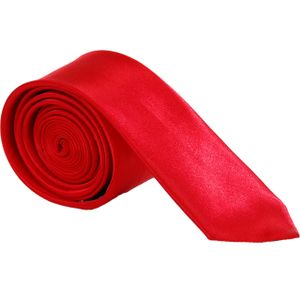 Edel Krawatten Schmal Unifarben  Rot