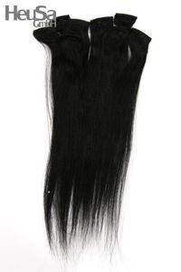 8-teiliges Set Echthaar Extensions schwarz 46cm