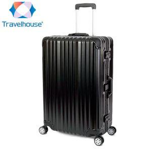 2er Reisekoffer Set, Handgepäck, Koffer L, Hartschalen Polycarbonat Alu Trolley  Travelhouse London 2er Kofferset S, L, Schwarz