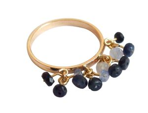 Damen Ring Vergoldet Saphir Blau Ringgröße:54 (17.2)