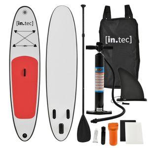 [in.tec]® Stand Up Paddle Board 305x71x10cm Surfboard SUP Paddelboard Wellenreiter aufblasbar rot