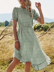 Frauen Blumenkleid Shore Sleeve Unregelmaessige Rueschen Saum Sommerferien Boho Vintage Kleid Gruen