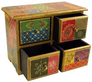 Kleines Apothekerschränkchen, Schmuckkästchen, Handbemaltes Schubfachschränkchen - Modell 9, Mehrfarbig, Holz, 20*24*13 cm, Dosen, Boxen & Schatullen