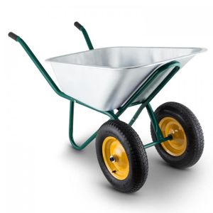 Waldbeck Heavyload - Schubkarre , Gartenkarre , 120 L Volumen , 320 kg max. Zuladung , 2-rädrige Vorderachse , 4.00 Luftgummireifen , Gummigriffe , grün-silber