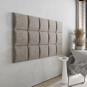 Wandkissen Stoff - Polster mit 50 mm Polsterung - Bett Kopfteil Wandpolster - Wanddeko - Wandpaneele | 30 x 30 (Beige RV16)