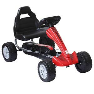 HOMCOM Go-Kart für Kinder Tretfahrzeug Tretauto Kinderfahrzeug mit Pedalen 4 Räder Metall + Kunststoff Rot für 3-6 Jahre