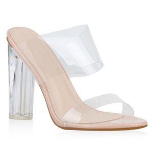 Mytrendshoe Damen Sandalen Pantoletten Transparente High Heels Party Mules 826412, Farbe: Rosa, Größe: 38