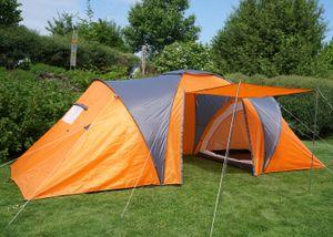 Campingzelt Laagri, 6-Mann Zelt Kuppelzelt Igluzelt Festival-Zelt, 6 Personen  orange