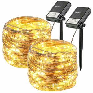 2Stk. Solar lichterkette100 LED solarbetriebene Silberdraht lichterketten Draußen
