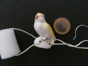 Porzellan Tropfenfänger Kanarienvogel, handbemalt für Kaffee- o. Teekannen Figur Tier Vogel