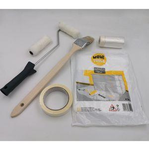 Mako Malerset WOW Plus+ 7-teiliges Renovierungsset - Heizkörper Pinsel, Rollerbügel, Ersatzwalzen, Abdeckband und Abdeckfolie