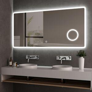 Meykoers LED Badspiegel 120x60cm Badspiegel mit Beleuchtung kaltweiß Lichtspiegel Badezimmerspiegel Wandspiegel mit Touchschalter IP44 energiesparend