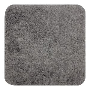 DILUMA | WC Vorleger ohne Ausschnitt 50x50 cm Grau | Badteppich | Flauschiger Hochflor, Weich, Rutschfest, Saugstark