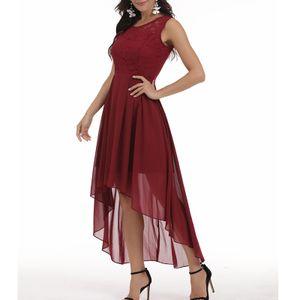 Damen Floral Lace Hi-Lo Brautjungfernkleid Ärmelloses formelles Hochzeits-Maxikleid Größe:S,Farbe:Kupfer