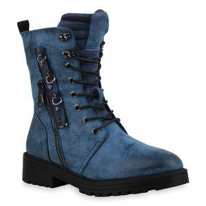 Mytrendshoe Damen Stiefeletten Leicht Gefüttert Schnürstiefeletten Ösen Schuhe 835732, Farbe: Blau, Größe: 37