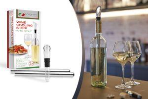 MAGNANI 2er Set Weinkühlstab mit Ausgießer, 2x Kühlstäbe aus Edelstahl und einem Ausgießeraufsatz, Weinkühlerset für Weißwein, Wine Chiller Sticks
