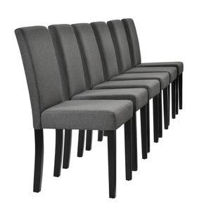 [en.casa]® Esszimmerstuhl im 6er-Set - 90 x 42cm dunkelgrau Designer-Stühle