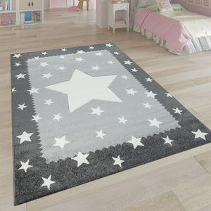Kinderteppich Grau Weiß Kinderzimmer 3-D Bordüre Sternen Design Weich Robust, Grösse:120x170 cm