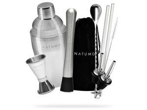 NATUMO ® Cocktail Shaker Set 10 Teilig - Premium Cocktail Set Cocktailshaker - inkl. Doppel Messbecher, 2x Ausgießer, Barstößel, Löffel, 2x Strohalm Edelstahl und Aufbewahrungsbeutel