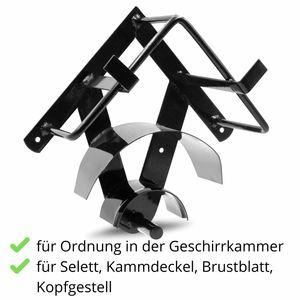 AMKA Geschirrhalter Pferd einteilig Metall schwarz  Geschirrhalter Set  Fahrgeschirr