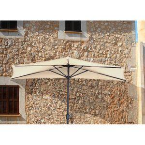 Wandschirm 5 Streben creme 240 cm Stahl Polyester mit Kurbel Sonnenschirm Gartenschirm