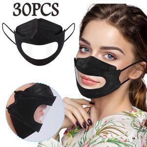 30PCS Adult Transparent Lips Feste Einweg-Gesichtsmaske Earloop Anti-PM2.5 Mask