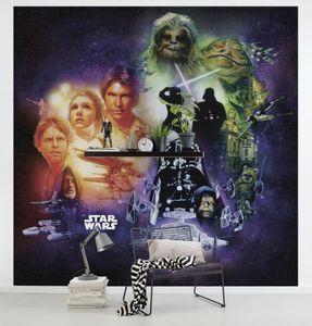 """Komar Vlies Fototapete """"Star Wars Classic Poster Collage"""" - Größe: 250 x 250 cm (Breite x Höhe), 5 Bahnen"""