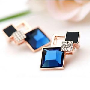 Blaue weibliche koreanische Kristall Diamant-Ohrringe blinkt Temperament Mode Ohrringe Großhandel Mode Ohrringe wilde Übertreibung